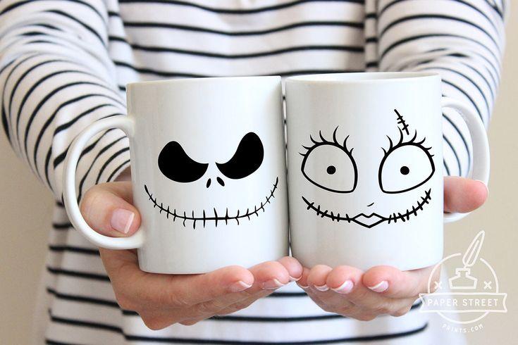 Halloween Mug, Nightmare Before Christmas, Couples Mug, Jack Sally, Halloween, Wife Gift Idea, His and Hers, Christmas Mugs, Skellington by PaperStreetPrintsCo on Etsy https://www.etsy.com/listing/555318115/halloween-mug-nightmare-before-christmas