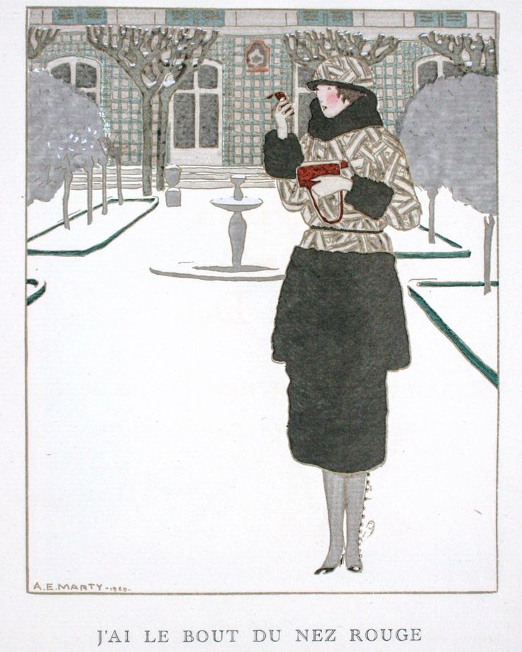 #fashionplate from the January 1920 issue of #GazetteduBonTon by #AndréEdouardMarty, of a women dressed in #Worth who emerges from a #snowy ...