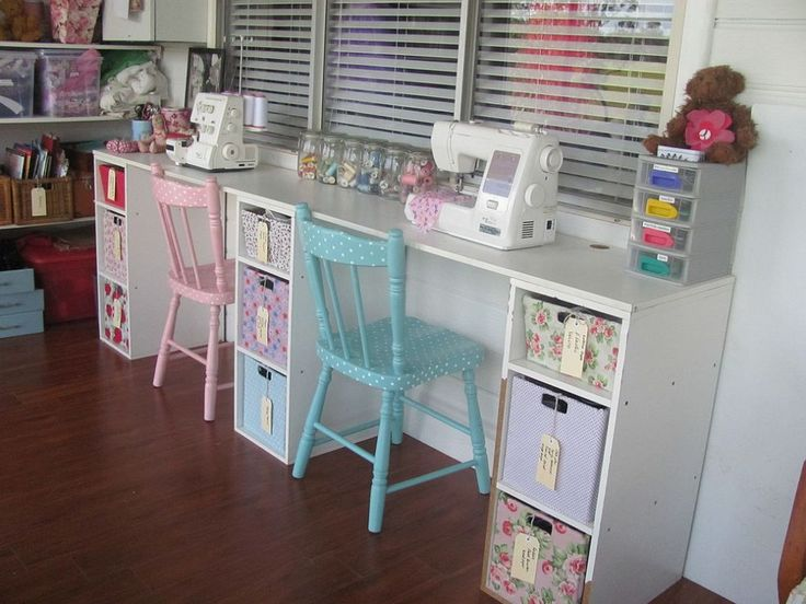 Hometalk - vintage sewing room. Cheerful colors, painted chairs, IKEA work tables.