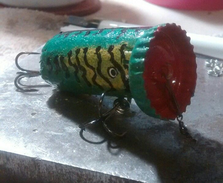 156 best fishing lures images on pinterest fishing for Bottle cap fishing lure