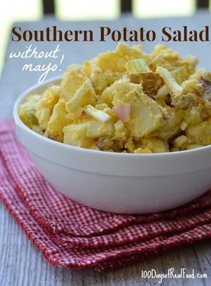 Recipe: Southern Potato Salad (without mayo!) ~ http://www.100daysofrealfood.com