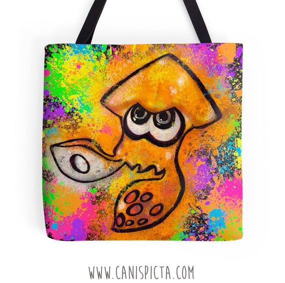 Splatoon Tote Bag Squid Video Game Purse Inkling by CanisPicta