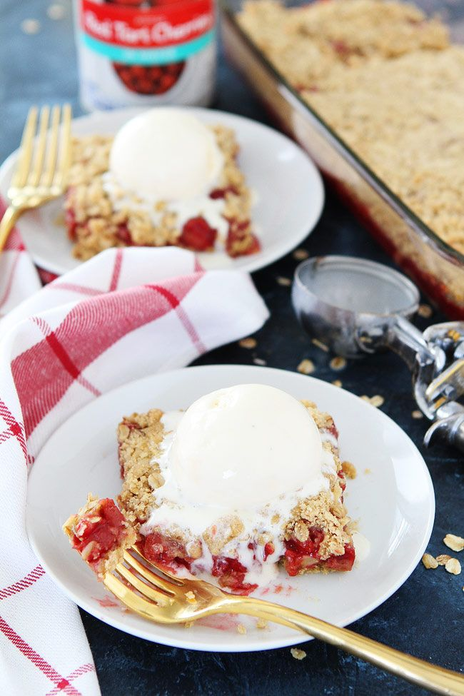 Cherry Oatmeal Bars Recipe from @twopeasandpod