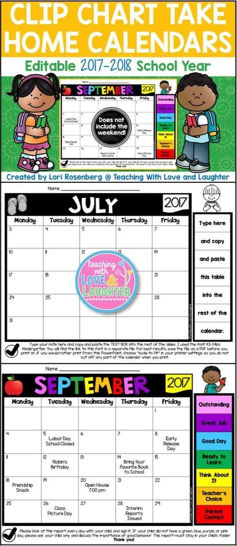 Editable and Non-Editable Clip Chart Calendars for the 2017-2018 School Year. These calendars do not include the weekend!