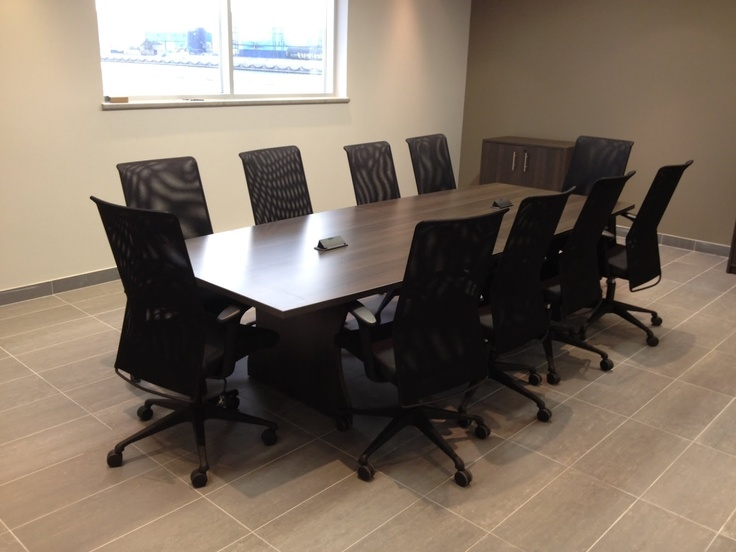 McAsphalt Marine-Belair Boardroom Table with Data ports included. Hon HVL Mesh back chairs
