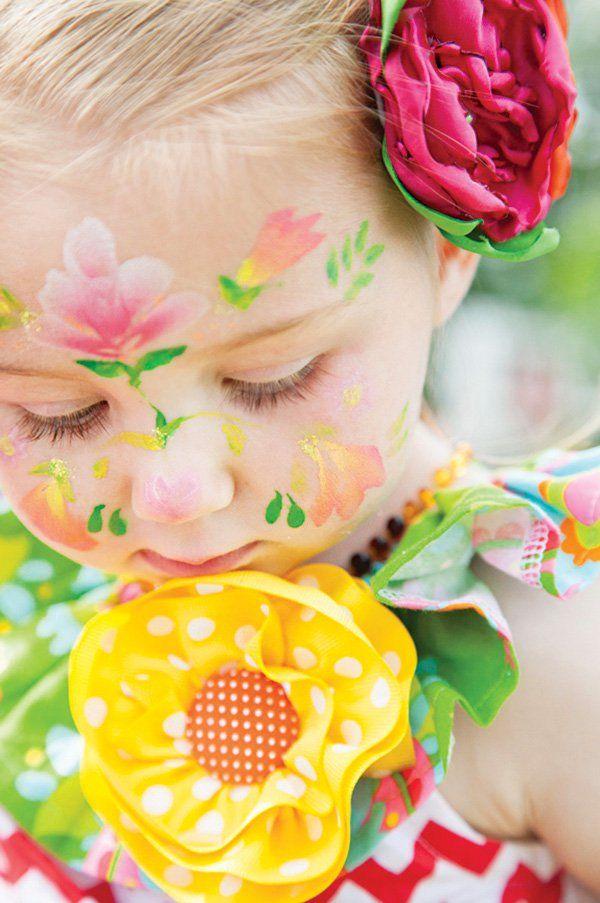 little girl's flowery face painting