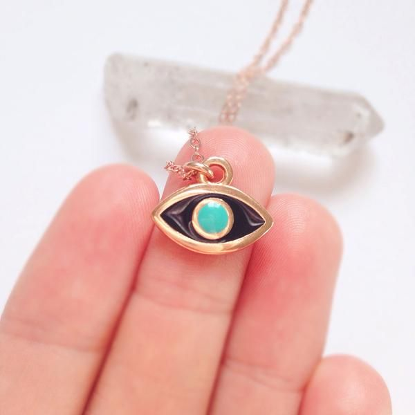 Protect yourself and your loved ones with an Evil Eye Necklace in Rose Gold. SYMBOL: EVIL EYE | The symbol of the evil eye is regarded as a potent amulet for protection against evil forces, curses, ba