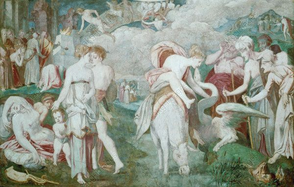 "Rosso Fiorentino (Giovanni Battista di Jacopo), ""The Fountain of Youth, 1528 - 1539, fresco, La Galerie François I., Château de Fontainebleau, Fountainbleau, France"