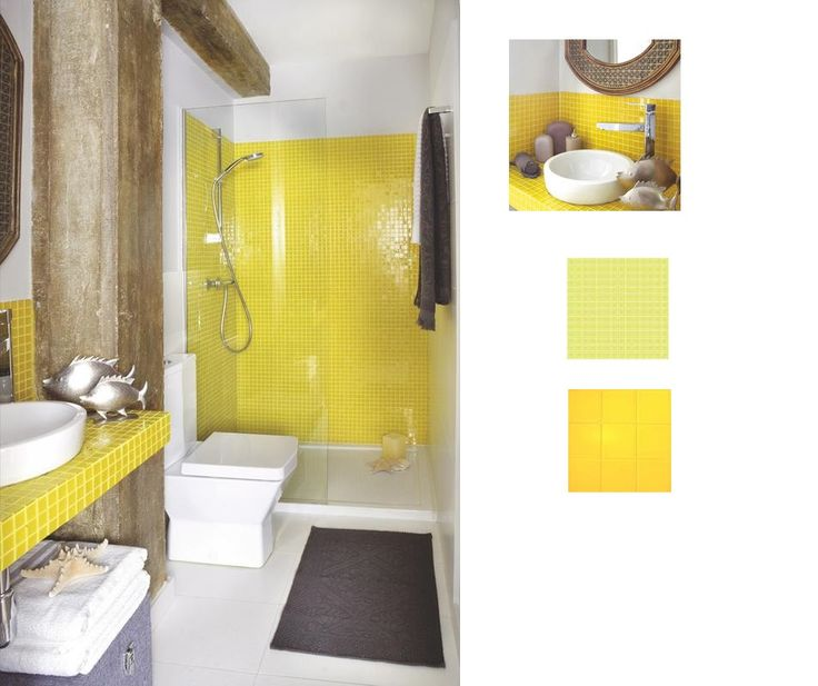 29 yellow mosaic bathroom tiles ideas and pictures