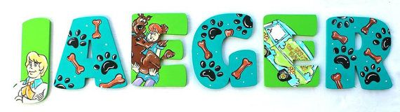 Scooby Dog Painted Letters, Mystery Machine Nursery Letters, Wood Alphabet Letters, Scooby Nursery Wall Hanging, Paw Print Photo Prop Letter