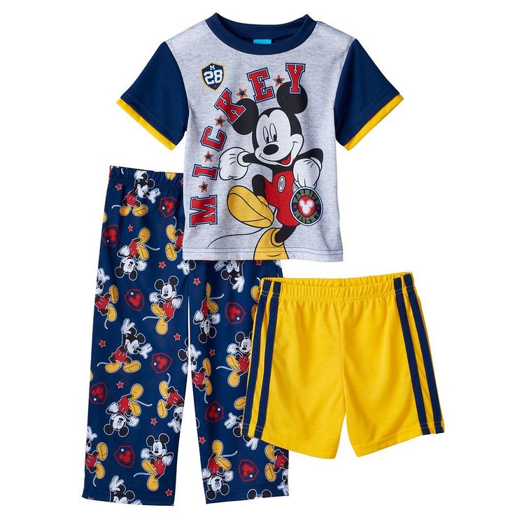 Disney's Mickey Mouse Toddler Boy Varsity Tee, Shorts & Pants Pajama Set, Size: 2T, Multicolor
