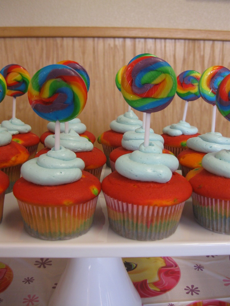 Rainbow Cupcakes for My Little Pony Party