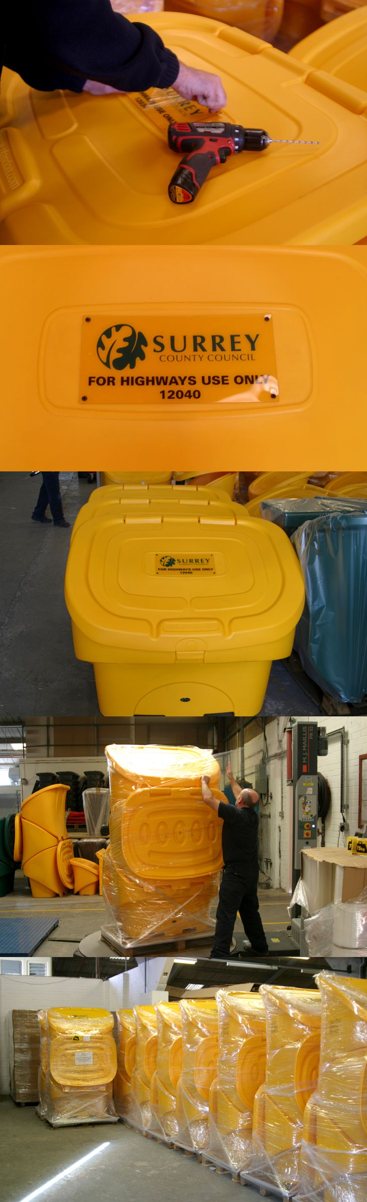 A large order of Nestor™ 400 grit bins with personalisation for Surrey County Council being prepped for delivery.