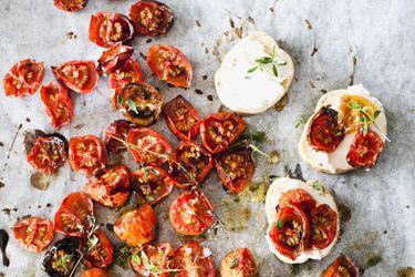 Roast tomato, thyme and goats cheese crostini