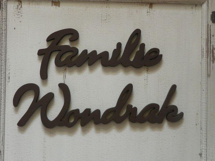 Türschild Namensschild Familie romantische Schrift von LeRoe auf DaWanda.com