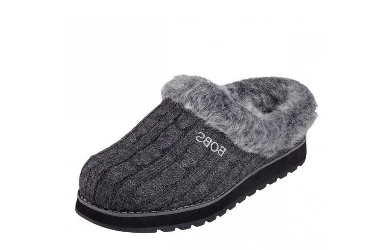 Skechers Bobs Keepsakes Ice Angel Charcoal Grey Mule Slippers