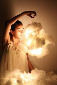 Cloud Lights: First, you need some cotton batting, a paper lantern, and three flameless candles, the type that Glade sells. Pull at the cotton batting until it looks fluffy, light, and cloud-like. Then, hot glue it to the outside of the paper lantern in various places. Make sure it's fluffed to your liking, then light the lights and stick them inside. Hang the lantern wherever you'd like.