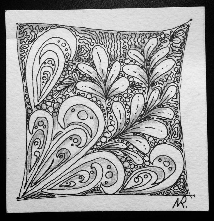 Зентанглы, акварельная бумага, черная гелевая ручка, карандаш