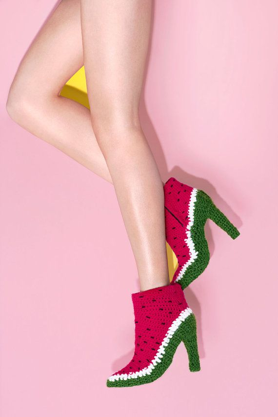 Watermelon #crochet shoes from FruitPunchByMayanile on Etsy