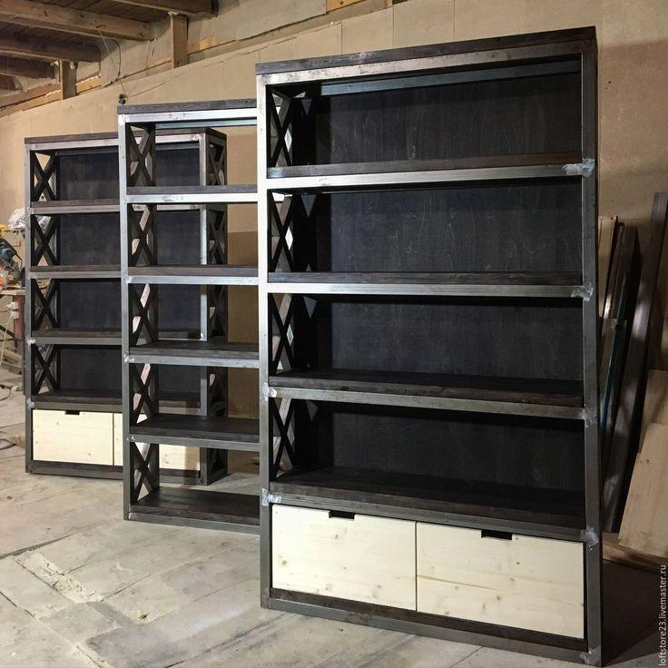 Купить Стеллаж BRISTOL. - коричневый, стеллаж, стеллаж лофт, loft, loft стиль, loft стеллаж