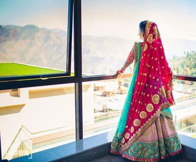 Bridal Wear - Pink and Aqua Wedding Lehenga | WedMeGood | Baby Pink and Aqua Lehenga with a Fuchsia Pink Double Dupatta as Veil  Shot by: Shutterdown by Lakshya Chawla #wedmegood #indianbride #indianwedding #lehenga #bridal #pink #dupatta #fuchsia