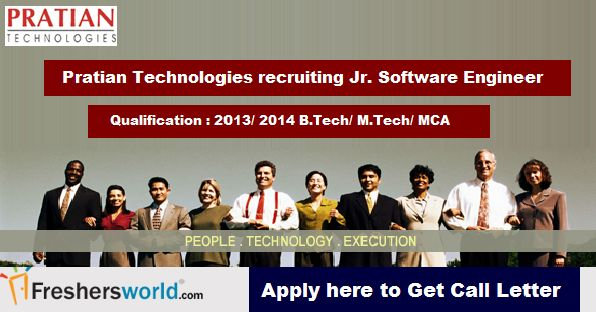 Qualification : 2013/ 2014 BE/ B.Tech/ M.Tech/ M.E - ( CS/ IT/ IS/ ECE)/ MCA candidates  Apply Here : http://www.freshersworld.com/jobs/pratian-technologies-pvt-ltd-hiring-for-jr-software-engineer-in-bangalore-2013-2014-batch-110732?src=FW-FB-Practian  Last Date : 30 Jan 2015