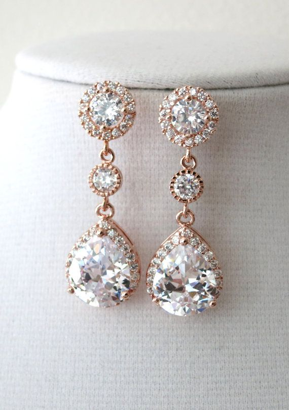 Rose Gold Teardrop Luxe Cubic Zirconia Teardrop Earring - gifts for her, earrings, bridal gifts, drop, dangle, pink gold weddings, by ColorMeMissy, www.colormemissy.com