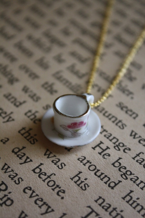 Alice in Wonderland Necklace - Tea Cup (what a great idea for gifts using all my little tea sets) #PinTeaTuesday