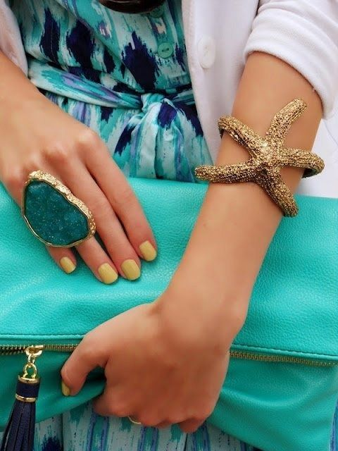 Textured Starfish Adjustable Bangle, huge ring, turquoise bag...love it all