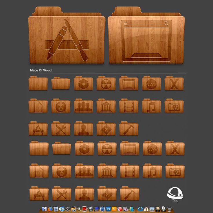 Wood Retro Folder icons (Pngs):