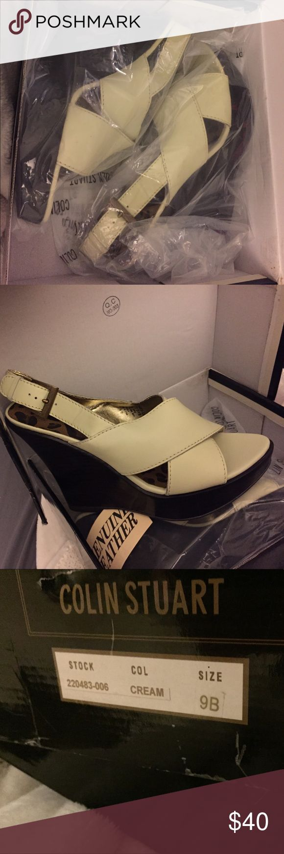 New Colin Stuart Leather Open Toe SlingBack Wedges Size 9: New In Box Genuine Leather Cream colored open toe, sling back wedged heels. Colin Stuart Shoes Wedges
