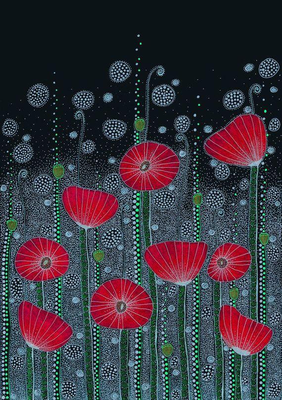 Poppy Field Drawing 8.3x11.7 A4 Art Print by EnchantedCrayons, $15.00