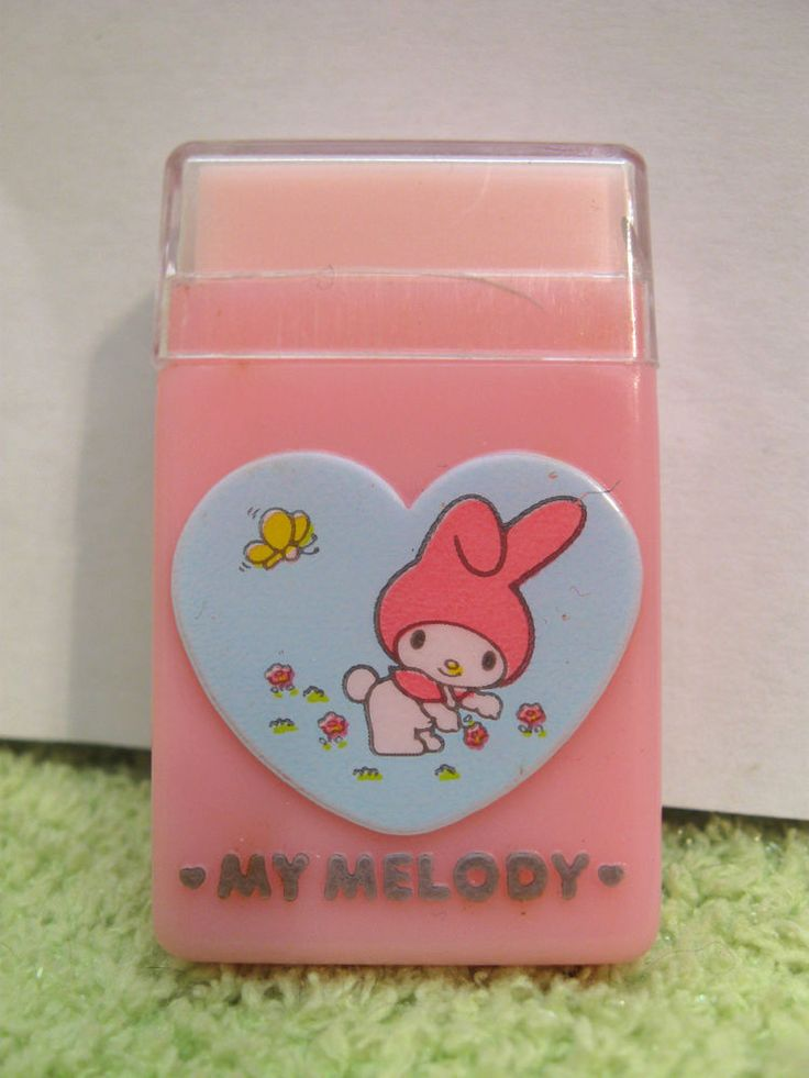 SANRIO MY MELODY ERASER Vintage 1976 PLASTIC CASE Heart PINK Mouse 1970s #Sanrio