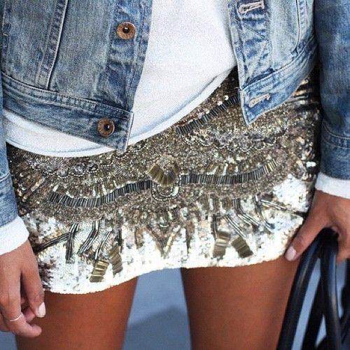 jean jacket + white tee + sparkly skirt.