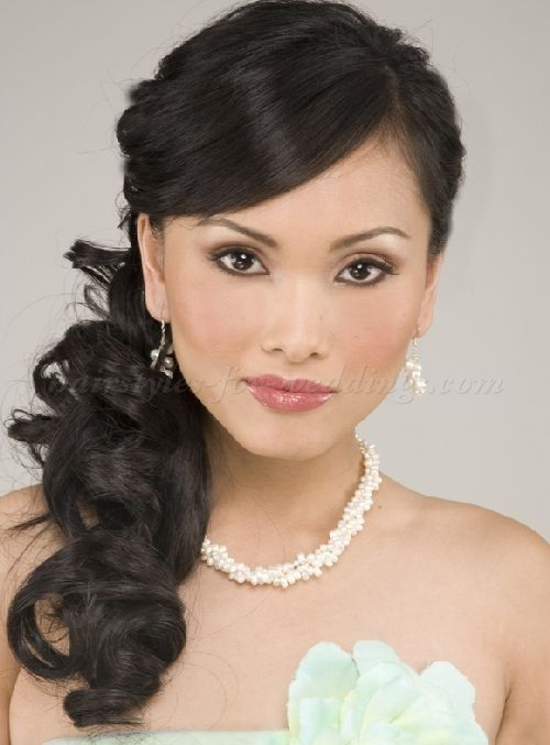 ponytail wedding hairstyles - curly side ponytail