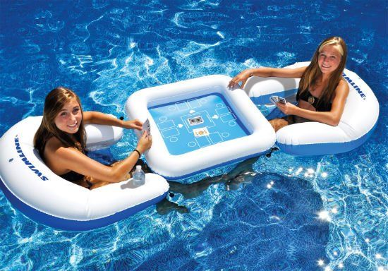 Includes two inflatable sling seats with drink holdersInflatable game table with waterproof playing cardsTable and chairs can be connected with bungee ball ties   Please allow 1-2 weeks for delivery.