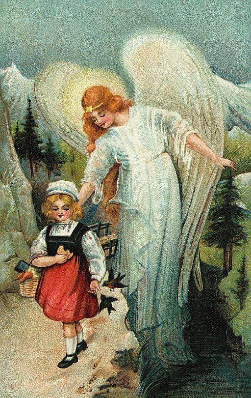 Beautiful Vintage Guardian Angel Illustration | Christmas ...