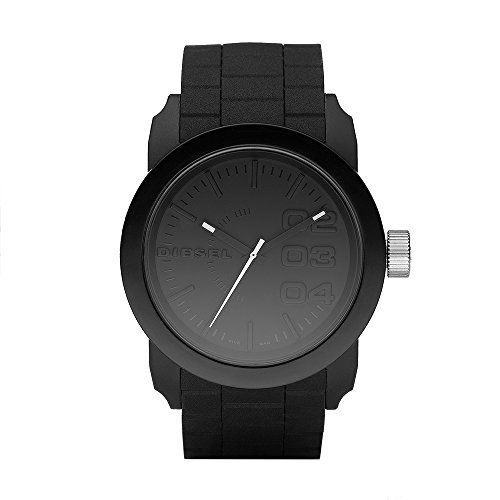 Diesel Men's DZ1437 Double Down Black Silicone Watch  Monochromatic watch with oversized markers at right featuring logo at 9 o'clock and silver-tone textured crown  44 mm stainless steel case with mineral dial window  Quartz movement with analog display  Silicone band with buckle closure  Water resistant to 10 m (33 ft): In general, withstands splashes and rain, but not immersion.
