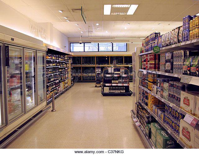 Alcohol section in Waitrose supermarket. - Stock Image