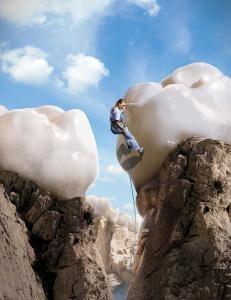 Teeth Climbing vs Rock Climbing- Artistic Image