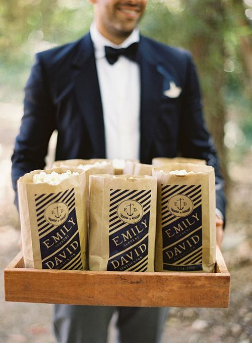 Impress Your Guests with These Savory Edible Wedding Favors; Popcorn for the ceremony for guests to snack on! Maybe our favorite Johnson's Popcorn?