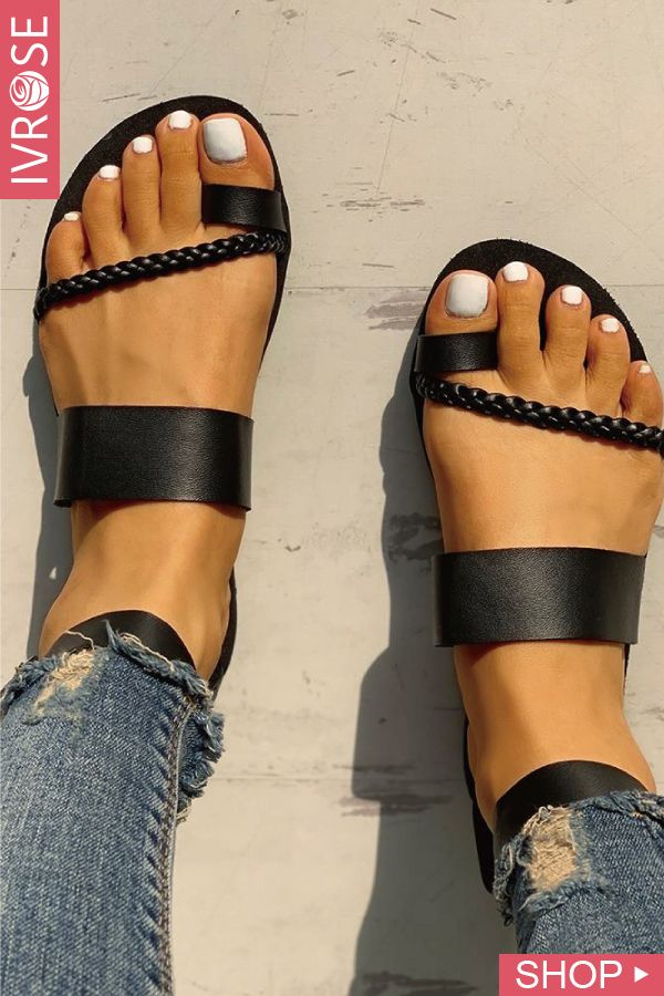 43d1acc501 Toe Ring Braided Design Sandals | shoes in 2019 | Shoes, Shoes ...