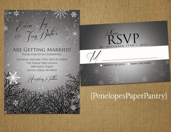 33 best winter wedding invitations images on pinterest winter elegant rustic winter wedding invitationsilversnowflakestree branchesshimmeryrusticprinted invitationwedding setoptional rsvp card junglespirit Images