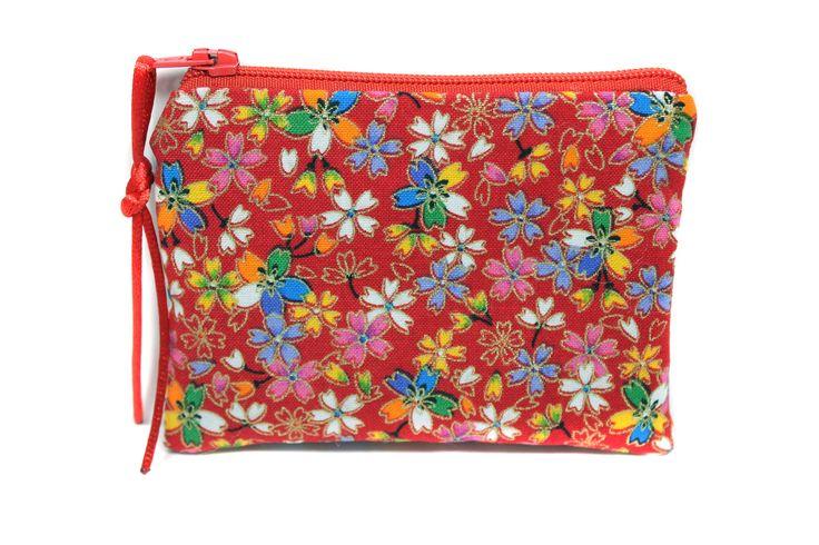 porte monnaie rouge en tissu japonais, mini pochette zippée, petit étui à barrettes : Porte-monnaie, portefeuilles par kipapee