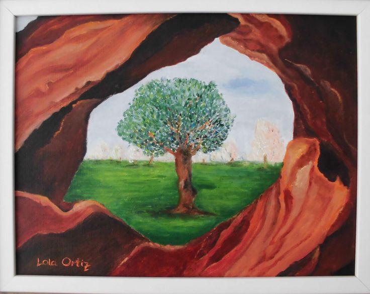 Pintura en óleo de árbol solitario visto a través de un olivo centenario. Paisaje típico mallorquín. de LolyShop en Etsy