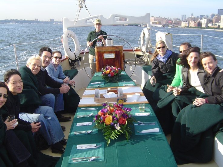 What better setting for a dinner with friends than aboard the Schooner Adirondack!