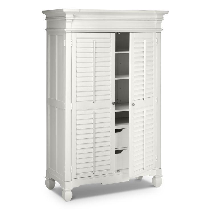 Plantation cove white bedroom armoire value city - Plantation cove bedroom furniture ...
