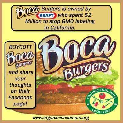 Boca Burgers is owned by Kraft - who gave 2 million dollars to stop GMO labeling in California! Tell them you have the right to know!  http://salsa3.salsalabs.com/o/50865/p/dia/action3/common/public/?action_KEY=8844