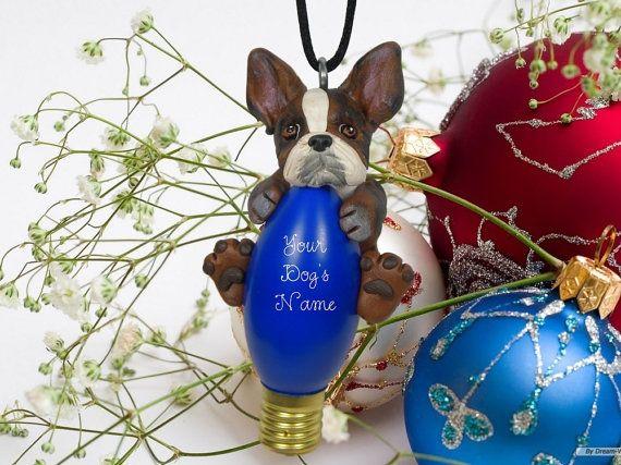 BRINDLE Boston Terrier Dog OOAK Christmas by sallysbitsofclay