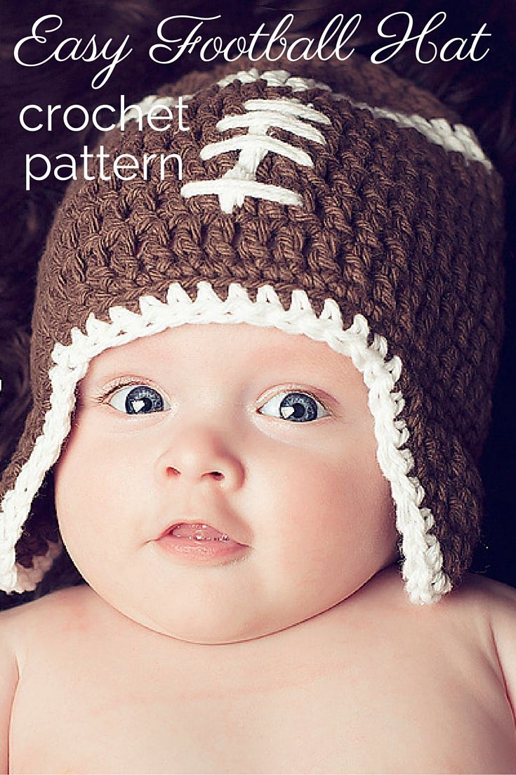 This adorable football hat crochet pattern is perfect for babies, kids, and adults! Includes all sizes. Get ready for football season, and make one for the entire family!